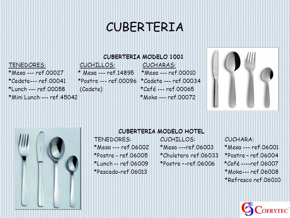 CUBERTERIA CUBERTERIA MODELO 1001 TENEDORES: CUCHILLOS: CUCHARAS: *Mesa --- ref.00027 * Mesa --- ref.14895 *Mesa --- ref.00010 *Cadete--- ref.00041 *P