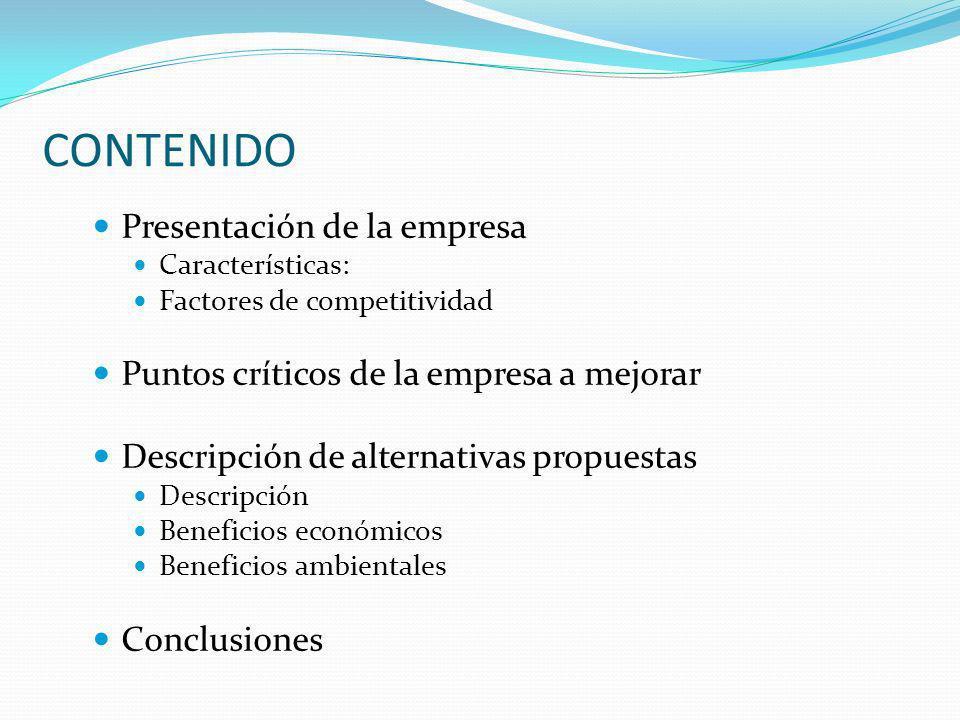 CONTENIDO Presentación de la empresa Características: Factores de competitividad Puntos críticos de la empresa a mejorar Descripción de alternativas p