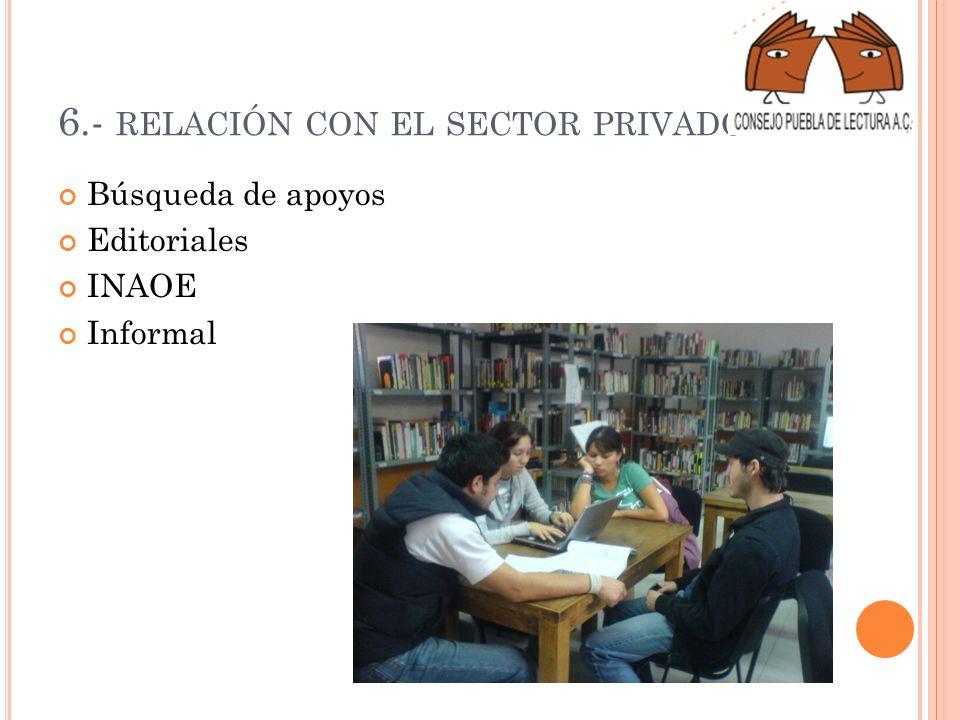 6.- RELACIÓN CON EL SECTOR PRIVADO Búsqueda de apoyos Editoriales INAOE Informal
