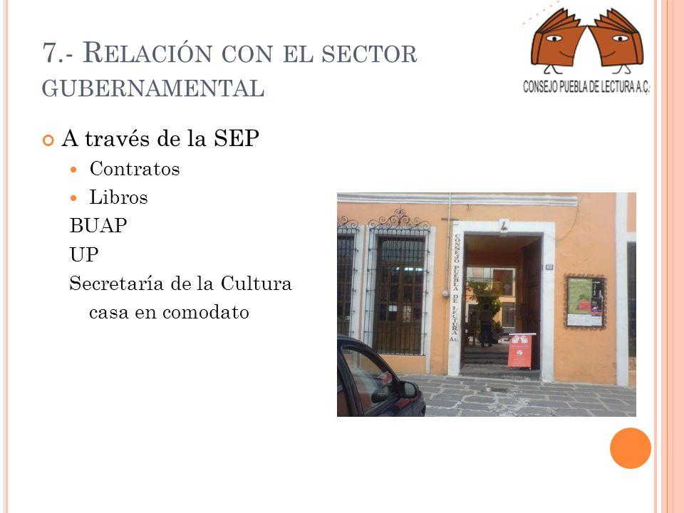 7.- R ELACIÓN CON EL SECTOR GUBERNAMENTAL A través de la SEP Contratos Libros BUAP UP Secretaría de la Cultura casa en comodato