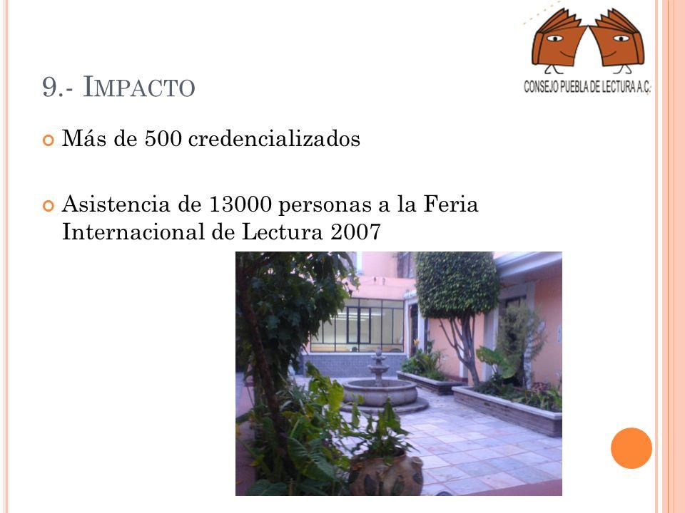 9.- I MPACTO Más de 500 credencializados Asistencia de 13000 personas a la Feria Internacional de Lectura 2007