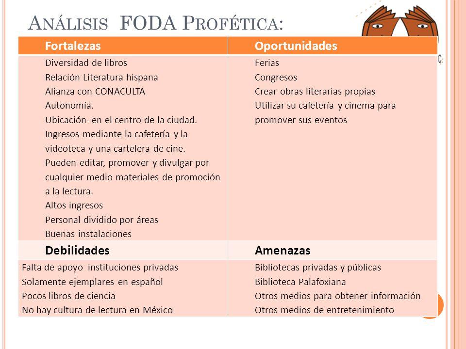A NÁLISIS FODA P ROFÉTICA : FortalezasOportunidades Diversidad de libros Relación Literatura hispana Alianza con CONACULTA Autonomía. Ubicación- en el