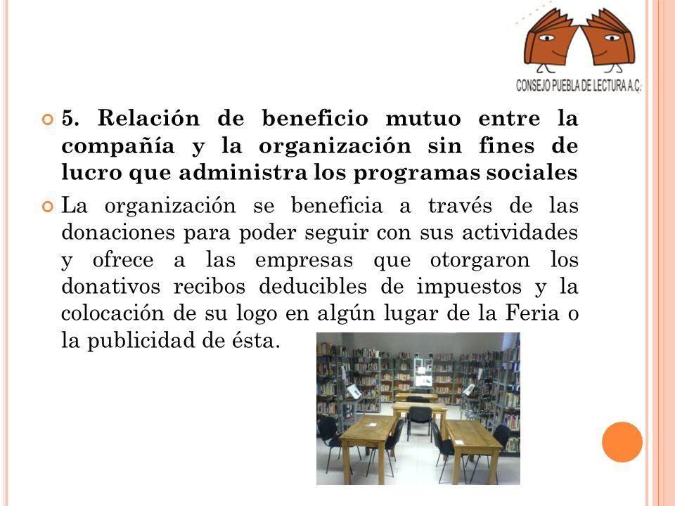 5. Relación de beneficio mutuo entre la compañía y la organización sin fines de lucro que administra los programas sociales La organización se benefic