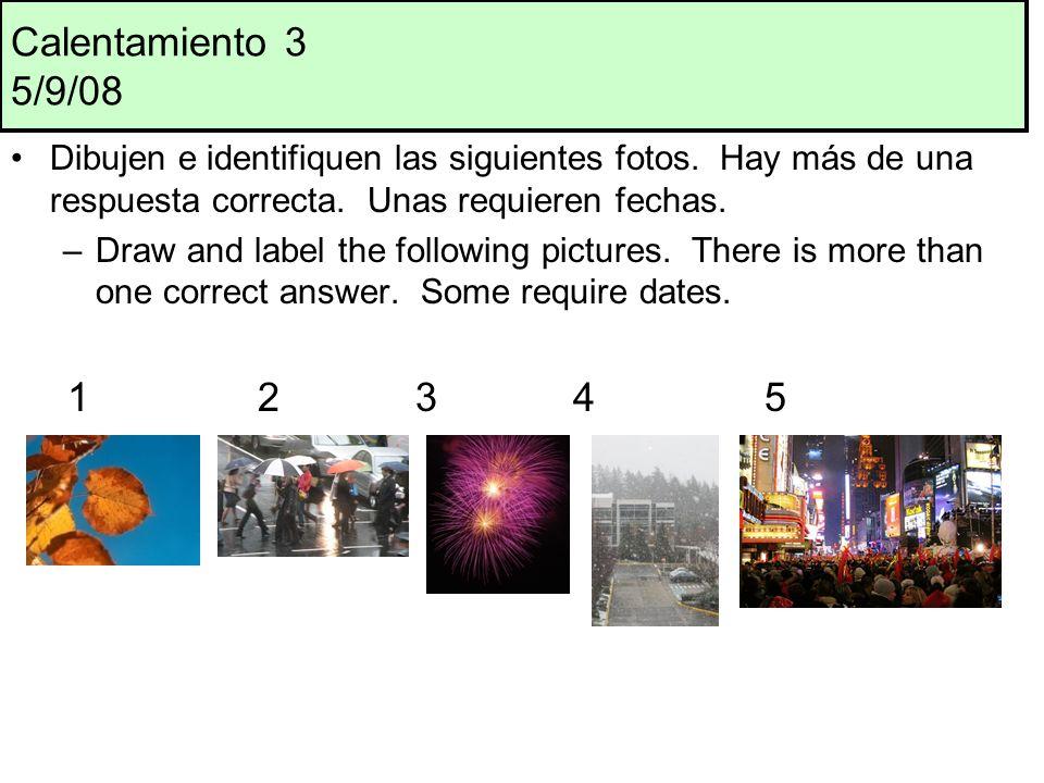 Calentamiento 3 5/9/08 Dibujen e identifiquen las siguientes fotos.