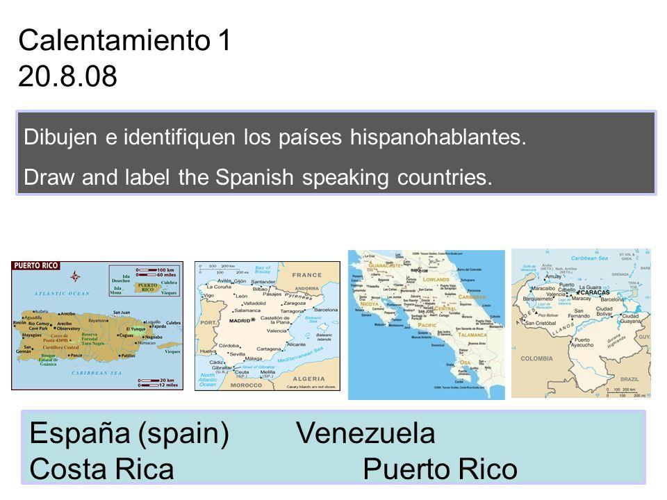 Calentamiento 4 9.8.08 Escriban las siguientes horas en español.