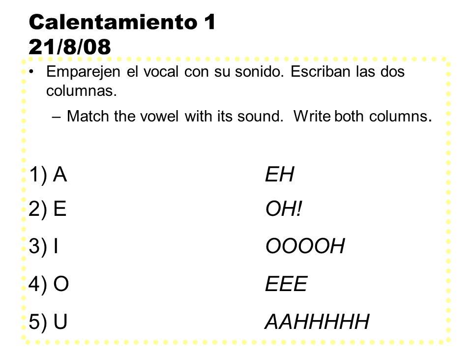 Calentamiento 2 19.11.08 Usen el verbo entre paréntesis en la forma correcta para completar las oraciones.
