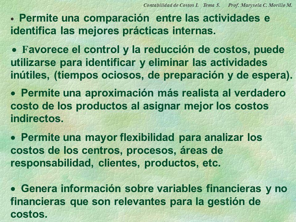 VENTAJAS DEL COSTEO BASADO EN ACTIVIDADES Contabilidad de Costos I. Tema 5. Prof. Marysela C. Morillo M.