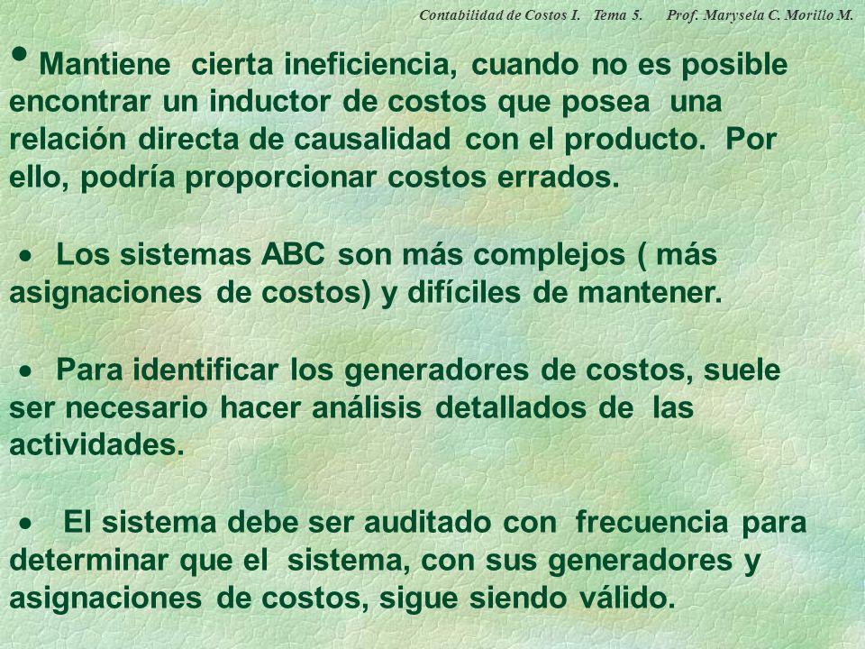 DESVENTAJAS DEL COSTEO BASADO EN ACTIVIDADES Contabilidad de Costos I. Tema 5. Prof. Marysela C. Morillo M.