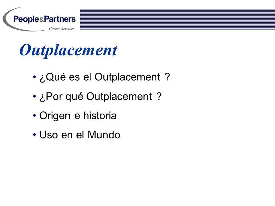 Outplacement ¿Qué es el Outplacement ? ¿Por qué Outplacement ? Origen e historia Uso en el Mundo