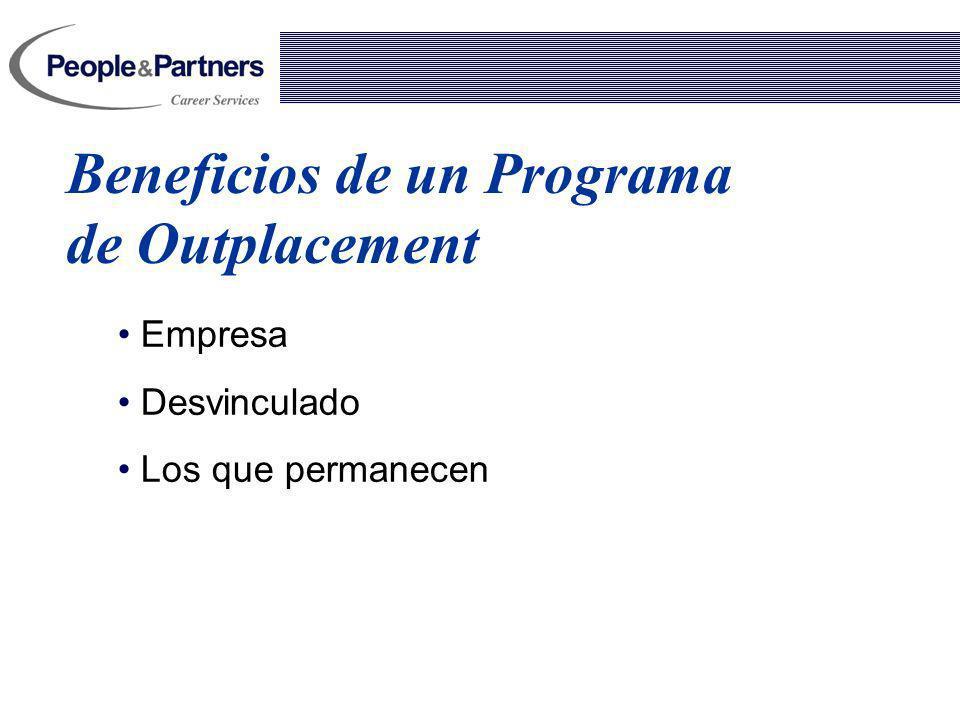 Tipos de Programas de Outplacement Individual Nivel Ejecutivo; Gerentes Generales, Gerentes, SubGerentes, Supervisores Semi- Individual Nivel Supervisor, profesionales, Técnicos, Administrativos Grupal Nivel Operarios