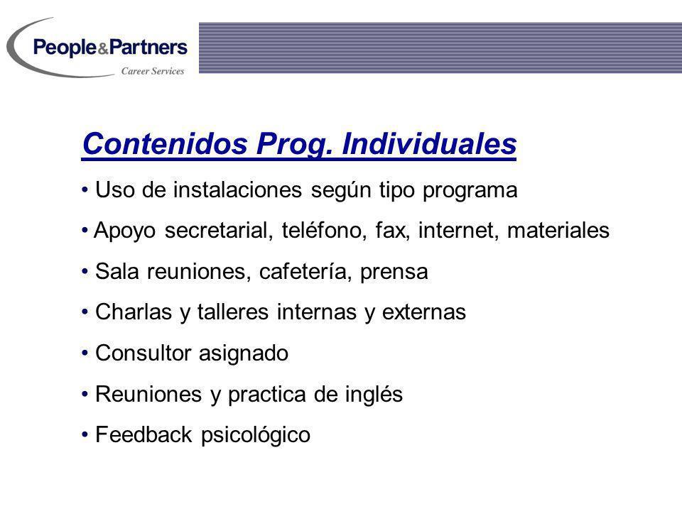 Contenidos Prog. Individuales Uso de instalaciones según tipo programa Apoyo secretarial, teléfono, fax, internet, materiales Sala reuniones, cafeterí