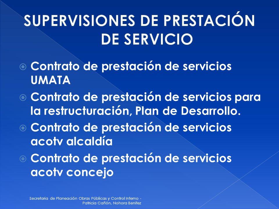 Secretaria de Planeación Obras Públicas y Control Interno - Patricia Cañón, Nohora Benitez Contrato de prestación de servicios UMATA Contrato de prest