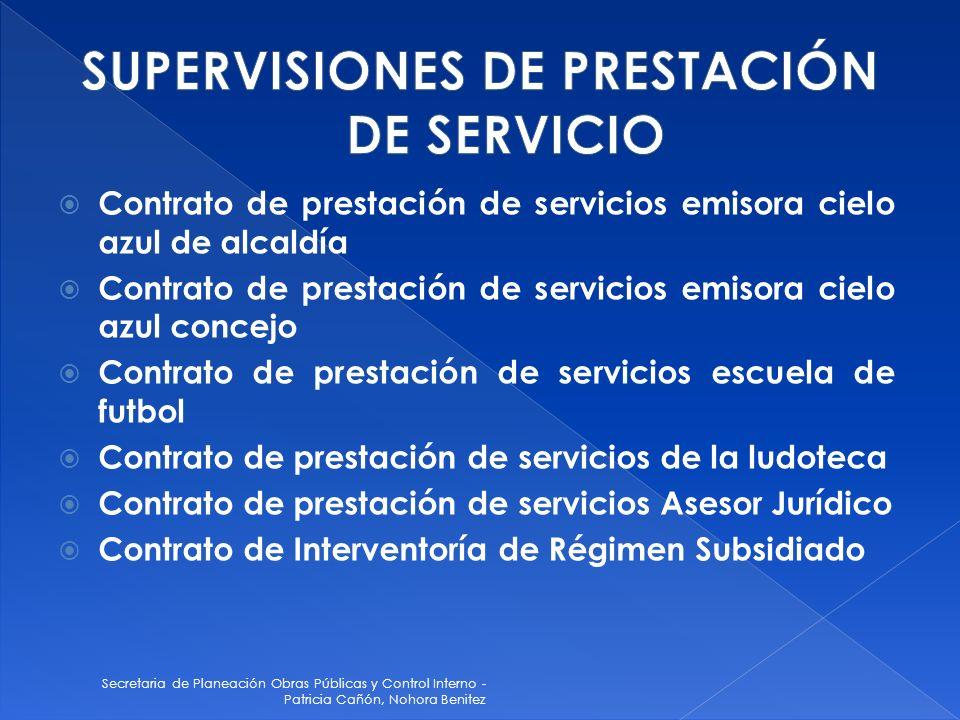 Secretaria de Planeación Obras Públicas y Control Interno - Patricia Cañón, Nohora Benitez Contrato de prestación de servicios emisora cielo azul de a