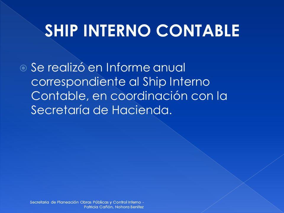 Secretaria de Planeación Obras Públicas y Control Interno - Patricia Cañón, Nohora Benitez Se realizó en Informe anual correspondiente al Ship Interno Contable, en coordinación con la Secretaría de Hacienda.