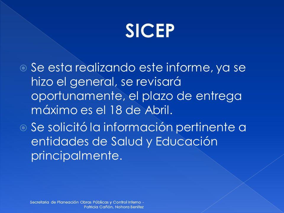 Secretaria de Planeación Obras Públicas y Control Interno - Patricia Cañón, Nohora Benitez Se esta realizando este informe, ya se hizo el general, se