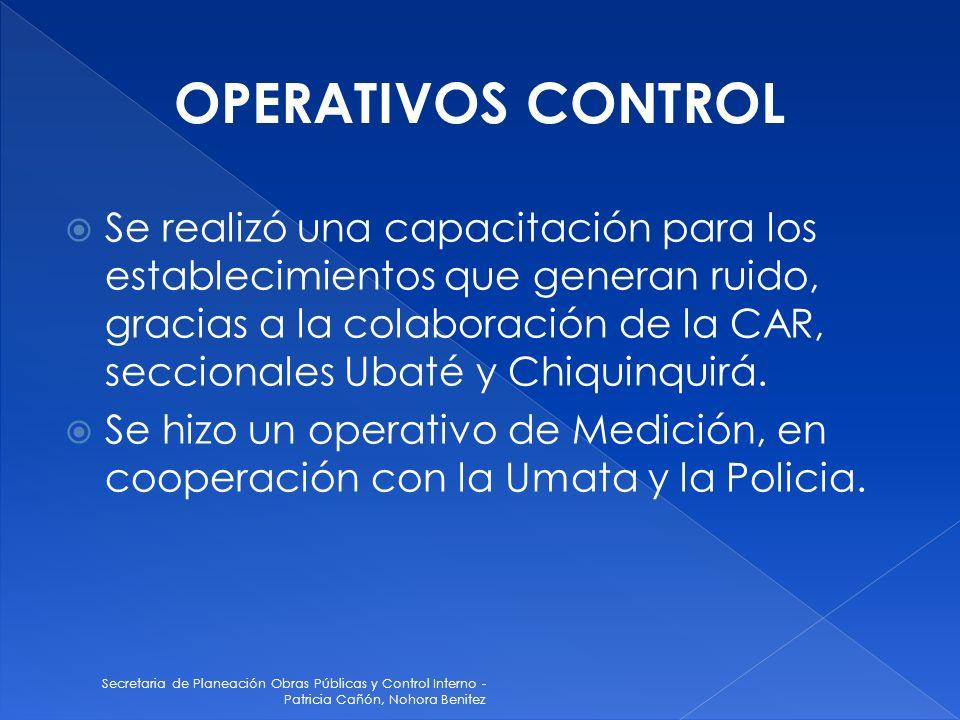 Secretaria de Planeación Obras Públicas y Control Interno - Patricia Cañón, Nohora Benitez Se realizó una capacitación para los establecimientos que g
