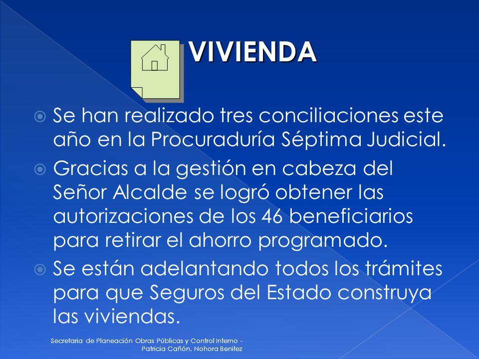 Secretaria de Planeación Obras Públicas y Control Interno - Patricia Cañón, Nohora Benitez Se han realizado tres conciliaciones este año en la Procura