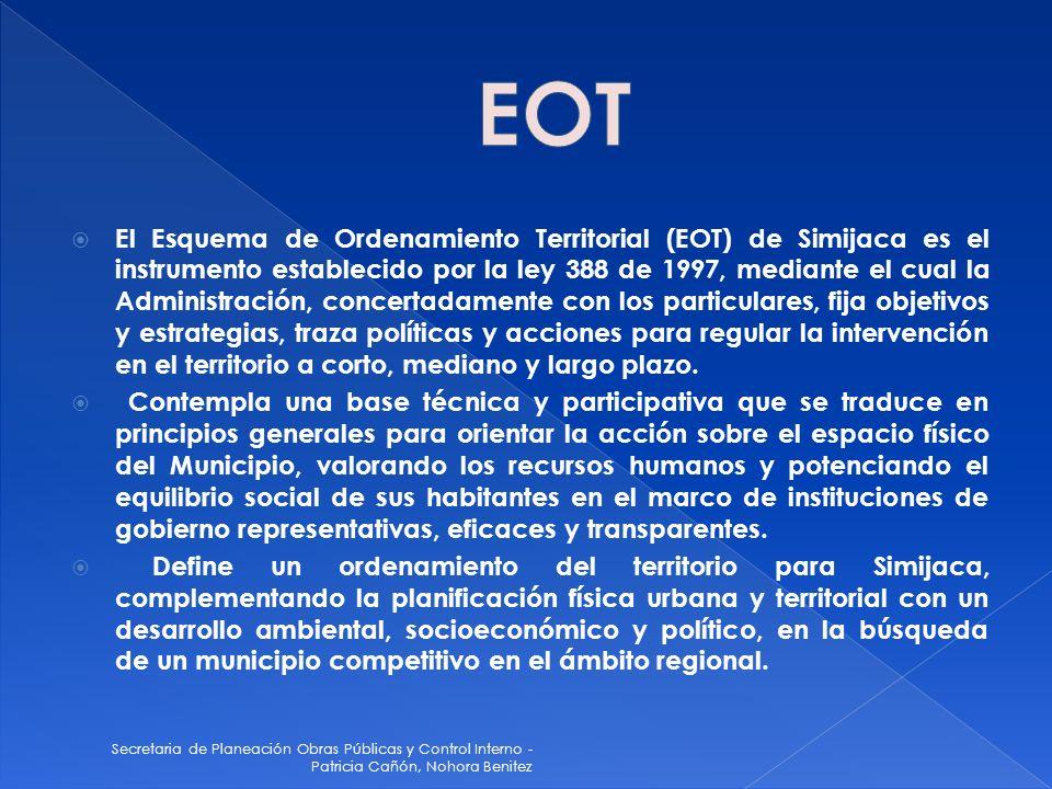 Secretaria de Planeación Obras Públicas y Control Interno - Patricia Cañón, Nohora Benitez Se ha iniciado el proceso con los funcionarios de Planeación Departamental, para retomar el EOT, ya que este año se vence los primeros términos para su revisión.