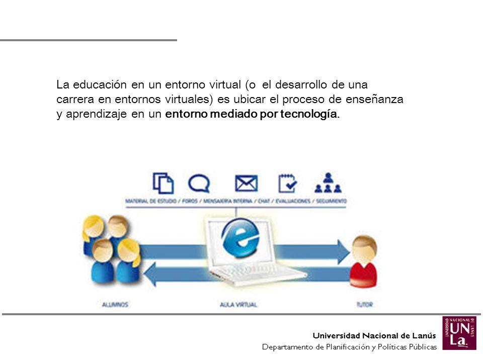 La educación en un entorno virtual (o el desarrollo de una carrera en entornos virtuales) es ubicar el proceso de enseñanza y aprendizaje en un entorn