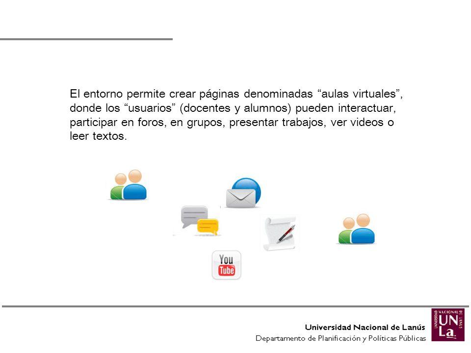 El entorno permite crear páginas denominadas aulas virtuales, donde los usuarios (docentes y alumnos) pueden interactuar, participar en foros, en grup