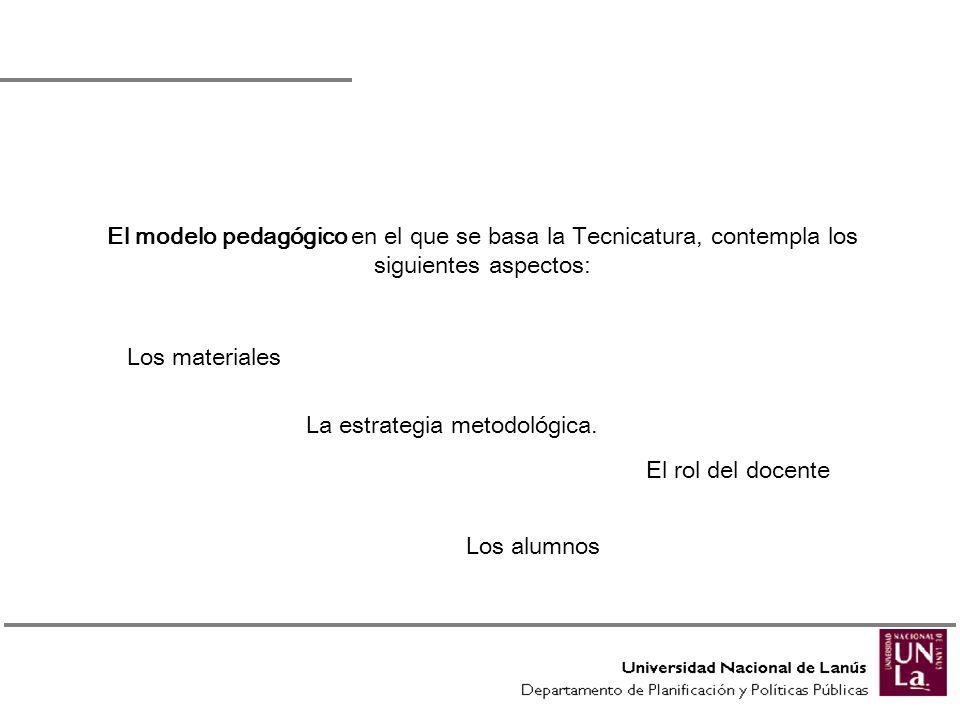 El modelo pedagógico en el que se basa la Tecnicatura, contempla los siguientes aspectos: Los alumnos Los materiales La estrategia metodológica. El ro