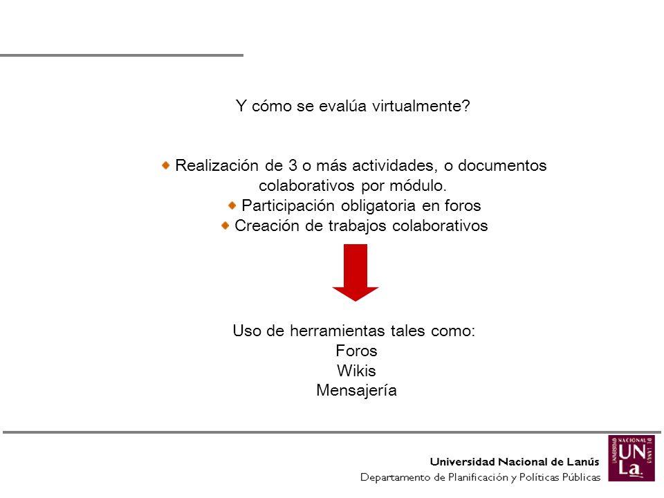 Y cómo se evalúa virtualmente? Realización de 3 o más actividades, o documentos colaborativos por módulo. Participación obligatoria en foros Creación
