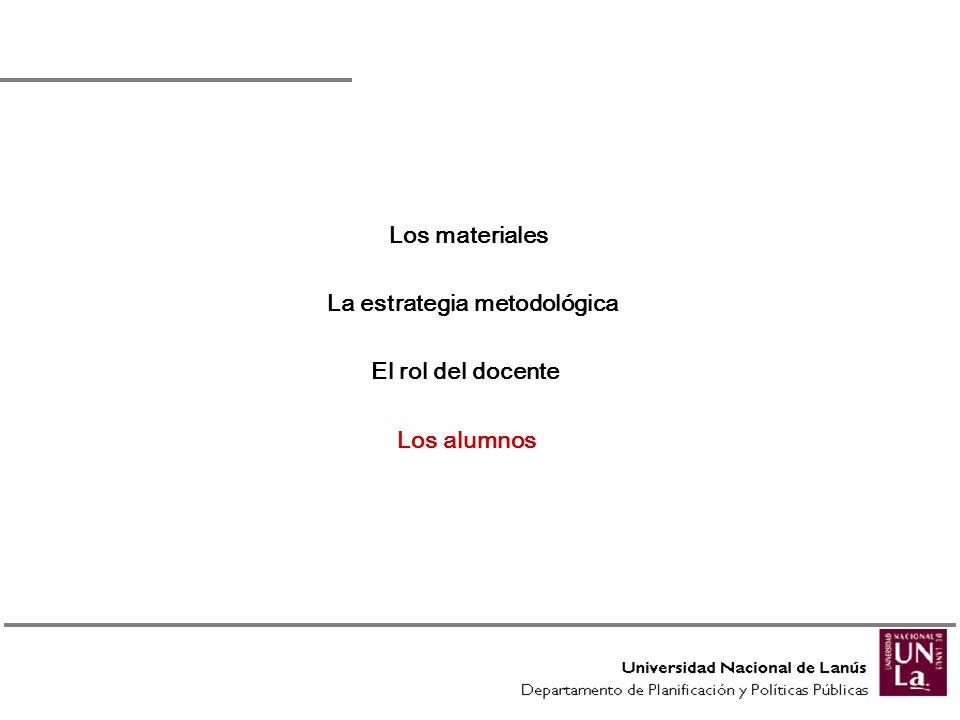 Los alumnos Los materiales La estrategia metodológica El rol del docente