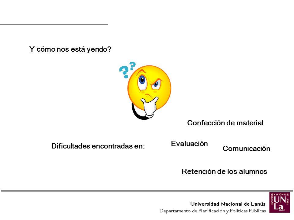 Y cómo nos está yendo? Dificultades encontradas en: Confección de material Evaluación Comunicación Retención de los alumnos