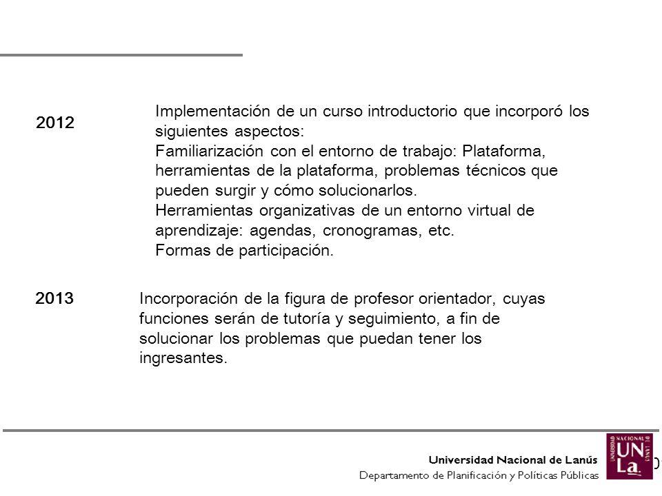 A partir del 2012 2013: 2012 Implementación de un curso introductorio que incorporó los siguientes aspectos: Familiarización con el entorno de trabajo