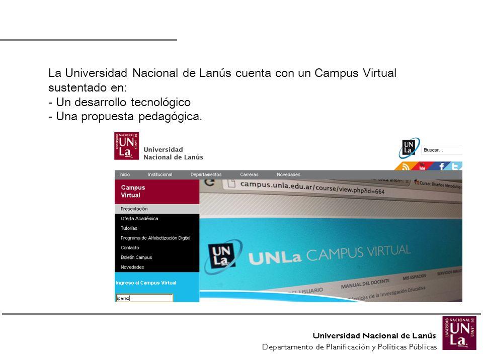 La Universidad Nacional de Lanús cuenta con un Campus Virtual sustentado en: - Un desarrollo tecnológico - Una propuesta pedagógica.