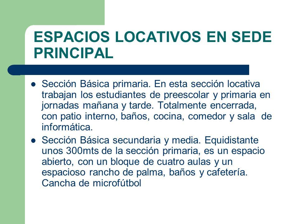 ESPACIOS LOCATIVOS EN SEDE PRINCIPAL Sección Básica primaria. En esta sección locativa trabajan los estudiantes de preescolar y primaria en jornadas m