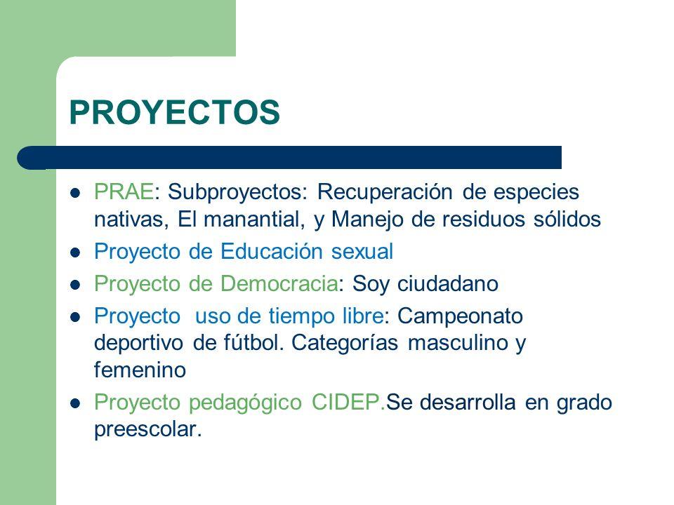 PROYECTOS PRAE: Subproyectos: Recuperación de especies nativas, El manantial, y Manejo de residuos sólidos Proyecto de Educación sexual Proyecto de De