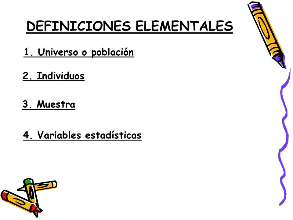 DEFINICIONES ELEMENTALES 1. Universo o población 2. Individuos 3. Muestra 4. Variables estadísticas