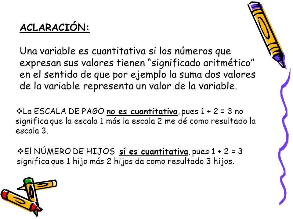 ACLARACIÓN: Una variable es cuantitativa si los números que expresan sus valores tienen significado aritmético en el sentido de que por ejemplo la sum