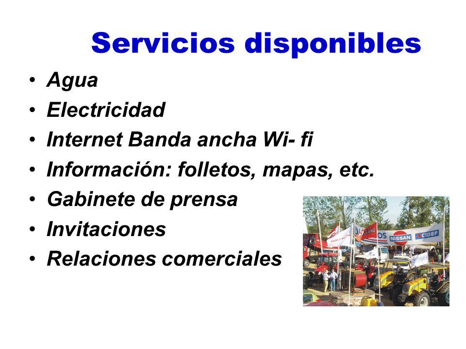 Servicios disponibles Agua Electricidad Internet Banda ancha Wi- fi Información: folletos, mapas, etc. Gabinete de prensa Invitaciones Relaciones come