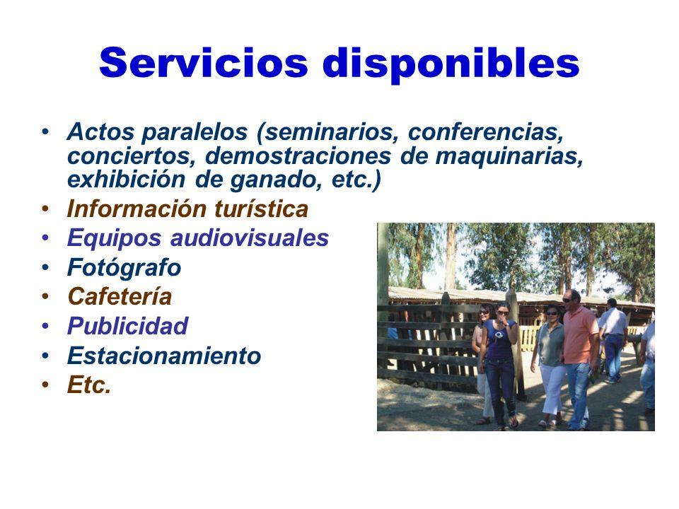 Servicios disponibles Actos paralelos (seminarios, conferencias, conciertos, demostraciones de maquinarias, exhibición de ganado, etc.) Información tu
