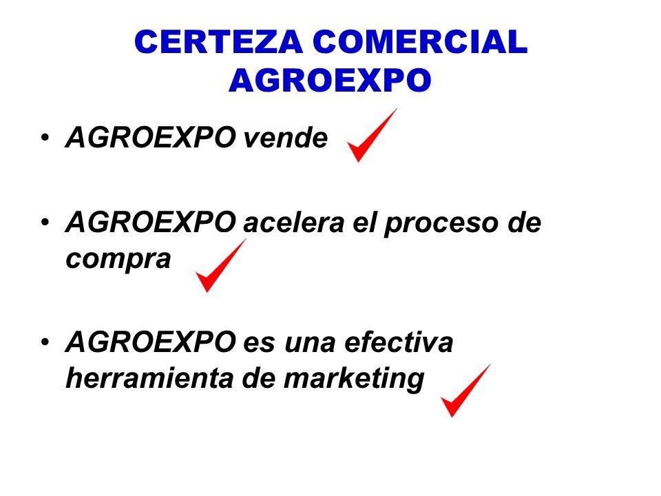 CERTEZA COMERCIAL AGROEXPO AGROEXPO vende AGROEXPO acelera el proceso de compra AGROEXPO es una efectiva herramienta de marketing