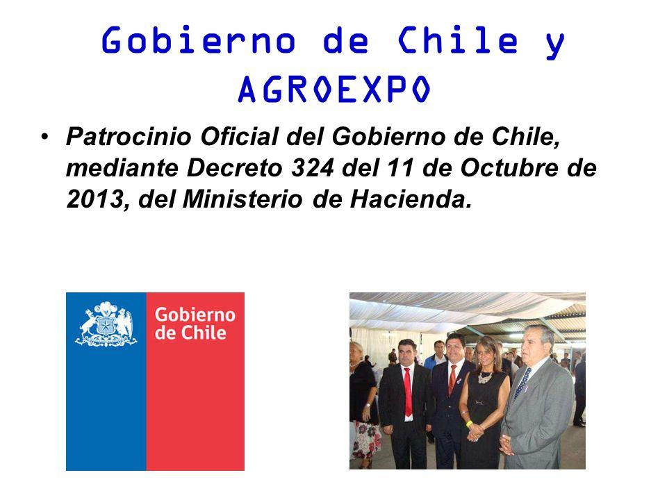 Gobierno de Chile y AGROEXPO Patrocinio Oficial del Gobierno de Chile, mediante Decreto 324 del 11 de Octubre de 2013, del Ministerio de Hacienda.