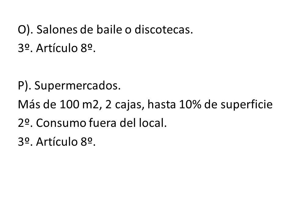 O). Salones de baile o discotecas. 3º. Artículo 8º. P). Supermercados. Más de 100 m2, 2 cajas, hasta 10% de superficie 2º. Consumo fuera del local. 3º