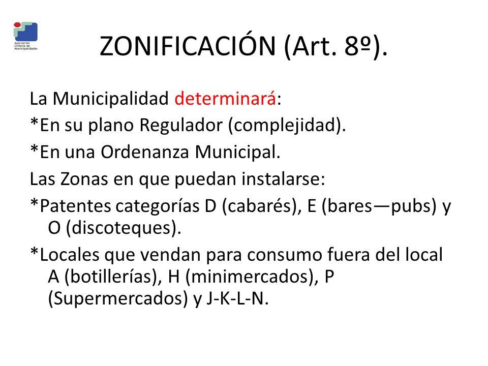 ZONIFICACIÓN (Art. 8º). La Municipalidad determinará: *En su plano Regulador (complejidad). *En una Ordenanza Municipal. Las Zonas en que puedan insta