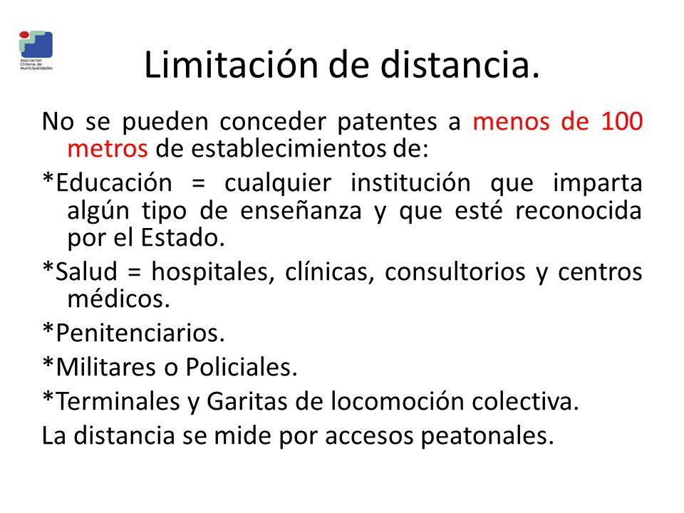 Limitación de distancia. No se pueden conceder patentes a menos de 100 metros de establecimientos de: *Educación = cualquier institución que imparta a