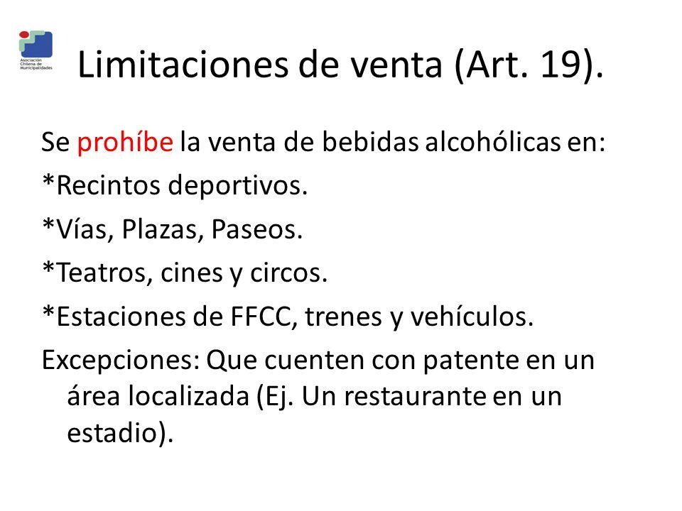 Limitaciones de venta (Art. 19). Se prohíbe la venta de bebidas alcohólicas en: *Recintos deportivos. *Vías, Plazas, Paseos. *Teatros, cines y circos.