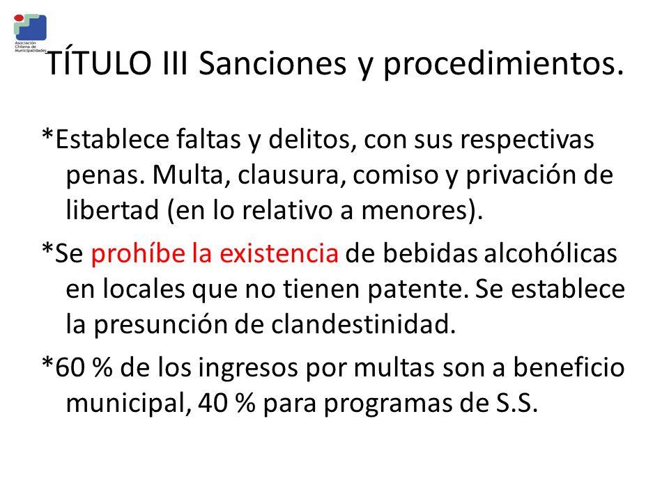 TÍTULO III Sanciones y procedimientos. *Establece faltas y delitos, con sus respectivas penas. Multa, clausura, comiso y privación de libertad (en lo