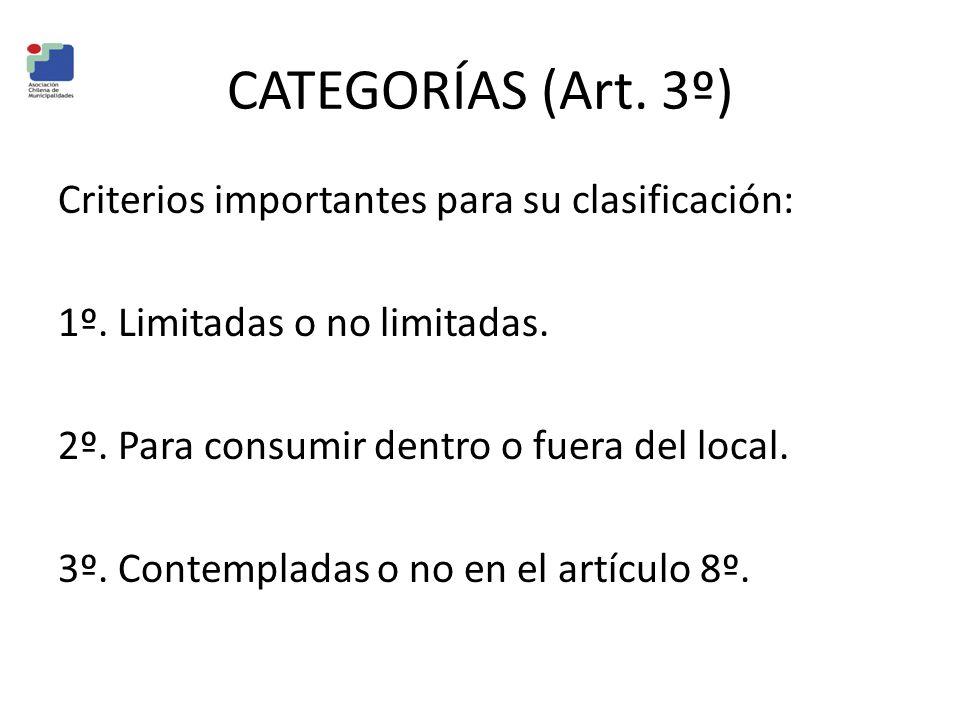 CATEGORÍAS (Art. 3º) Criterios importantes para su clasificación: 1º. Limitadas o no limitadas. 2º. Para consumir dentro o fuera del local. 3º. Contem