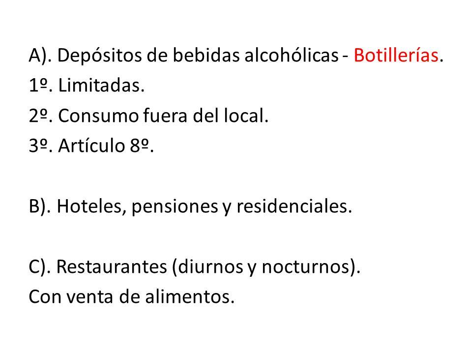 A). Depósitos de bebidas alcohólicas - Botillerías. 1º. Limitadas. 2º. Consumo fuera del local. 3º. Artículo 8º. B). Hoteles, pensiones y residenciale