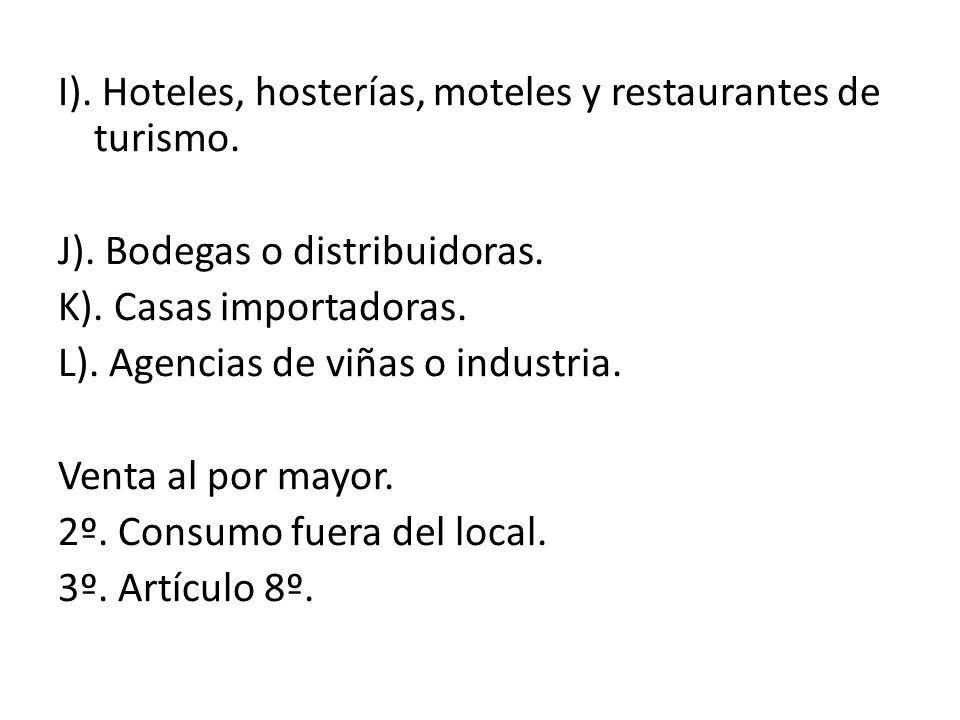 I). Hoteles, hosterías, moteles y restaurantes de turismo. J). Bodegas o distribuidoras. K). Casas importadoras. L). Agencias de viñas o industria. Ve