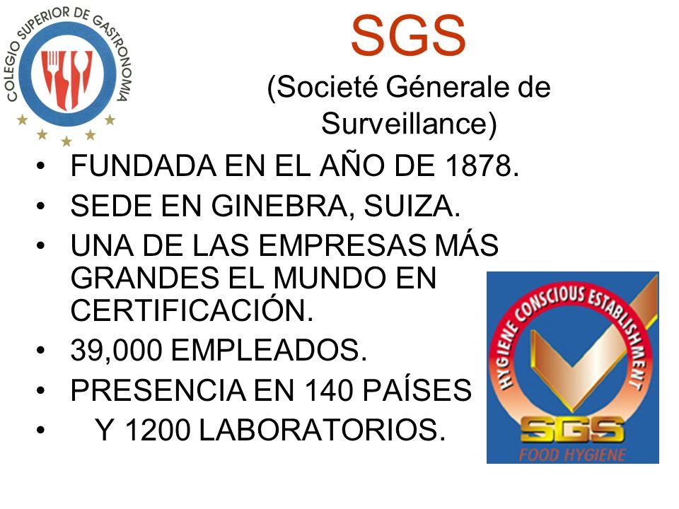 SGS (Societé Génerale de Surveillance) FUNDADA EN EL AÑO DE 1878.