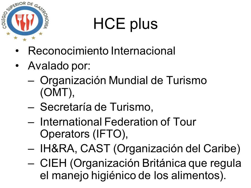 HCE plus Reconocimiento Internacional Avalado por: –Organización Mundial de Turismo (OMT), –Secretaría de Turismo, –International Federation of Tour Operators (IFTO), –IH&RA, CAST (Organización del Caribe) –CIEH (Organización Británica que regula el manejo higiénico de los alimentos).