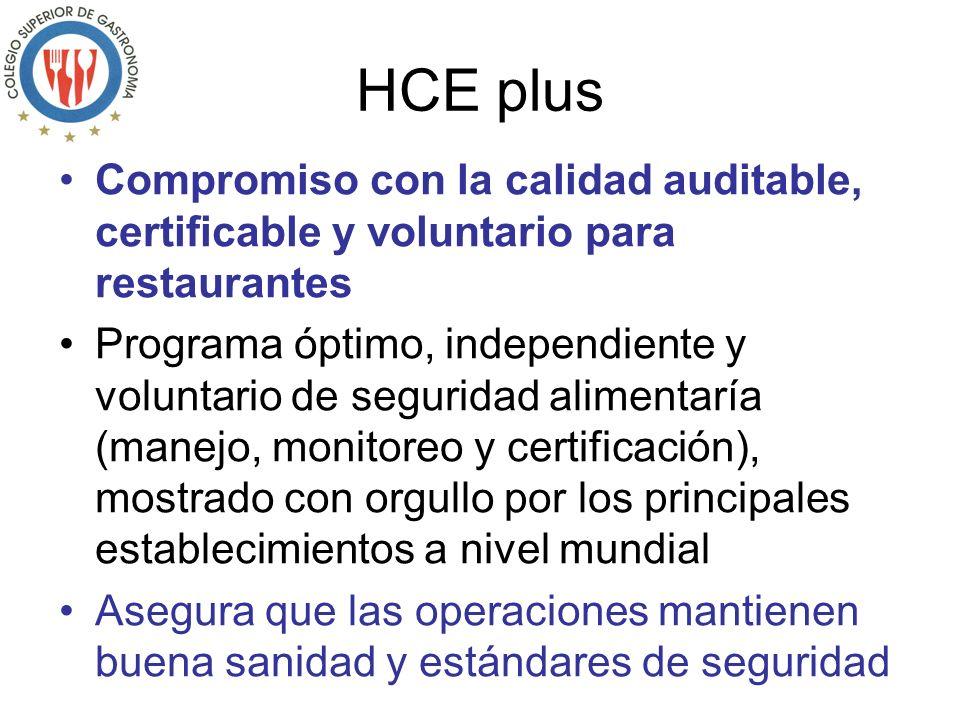 Compromiso con la calidad auditable, certificable y voluntario para restaurantes Programa óptimo, independiente y voluntario de seguridad alimentaría (manejo, monitoreo y certificación), mostrado con orgullo por los principales establecimientos a nivel mundial Asegura que las operaciones mantienen buena sanidad y estándares de seguridad
