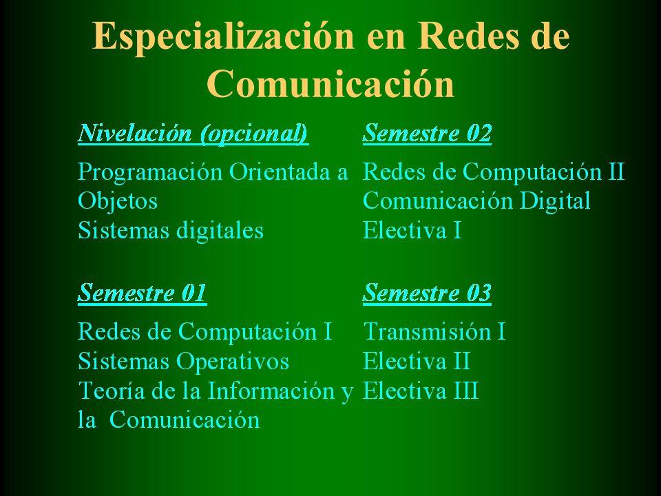 Especialización en Redes de Comunicación